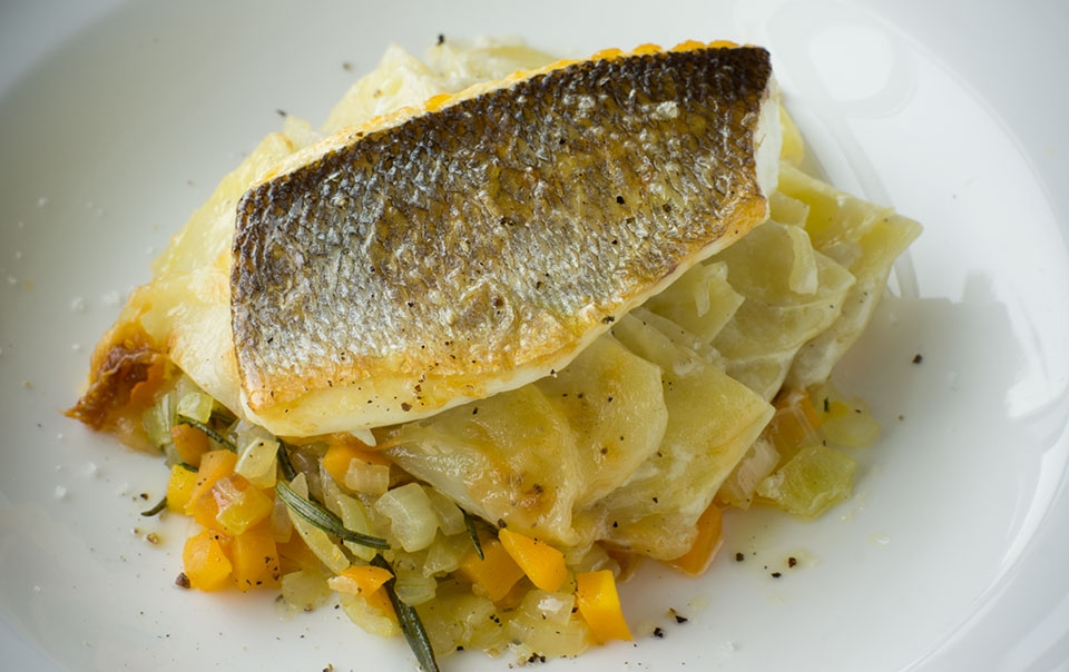 Roasted rosemary sea bass with potato mille-feuilles