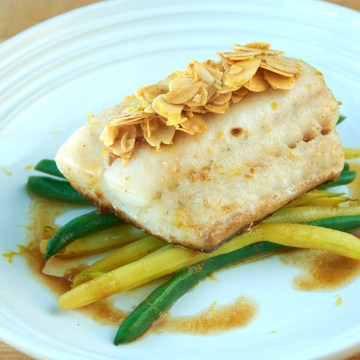 Walleye fillet amandine