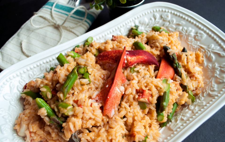 Lobster-asparagus risotto