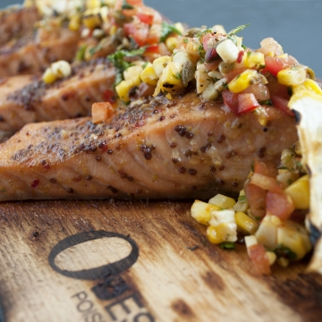 Cedar-planked salmon and grilled corn salsa