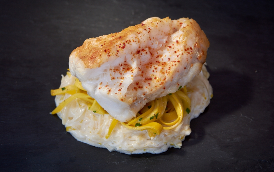 Monkfish tail with creamed leeks