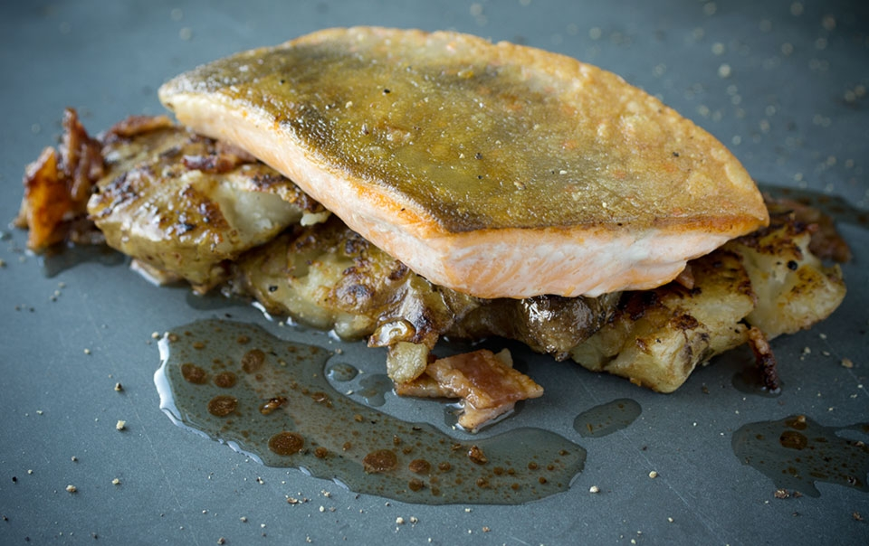 Pan-seared Arctic char with roasted Jerusalem artichokes