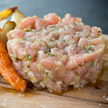 Trout and tarragon tartare with country-style fries
