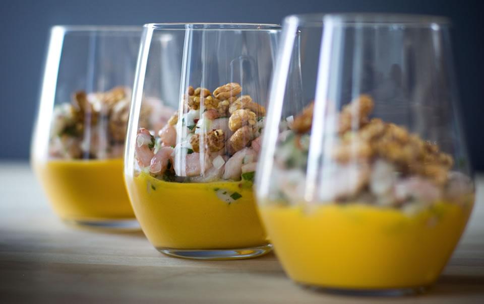 Salade de crevettes et purée de carottes