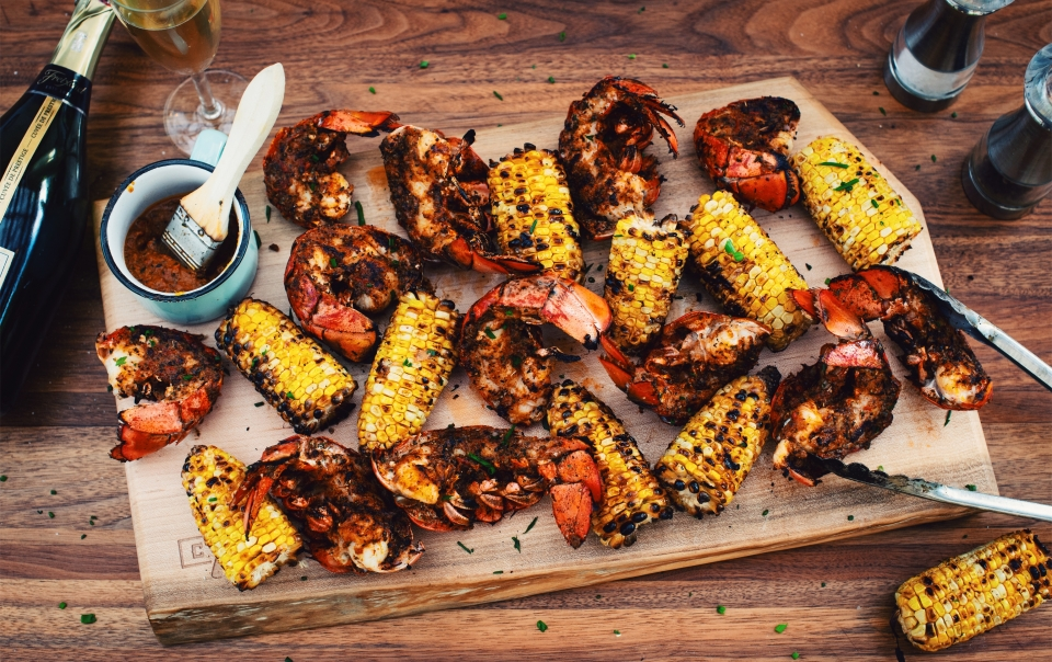BBQ grilled Cajun lobster tails