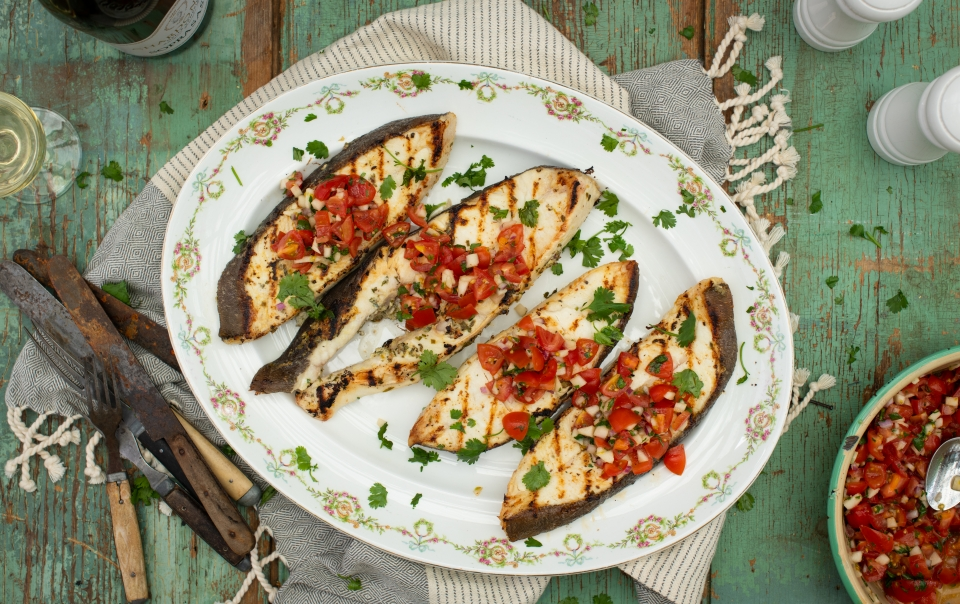 Lemon and white wine grilled halibut steaks