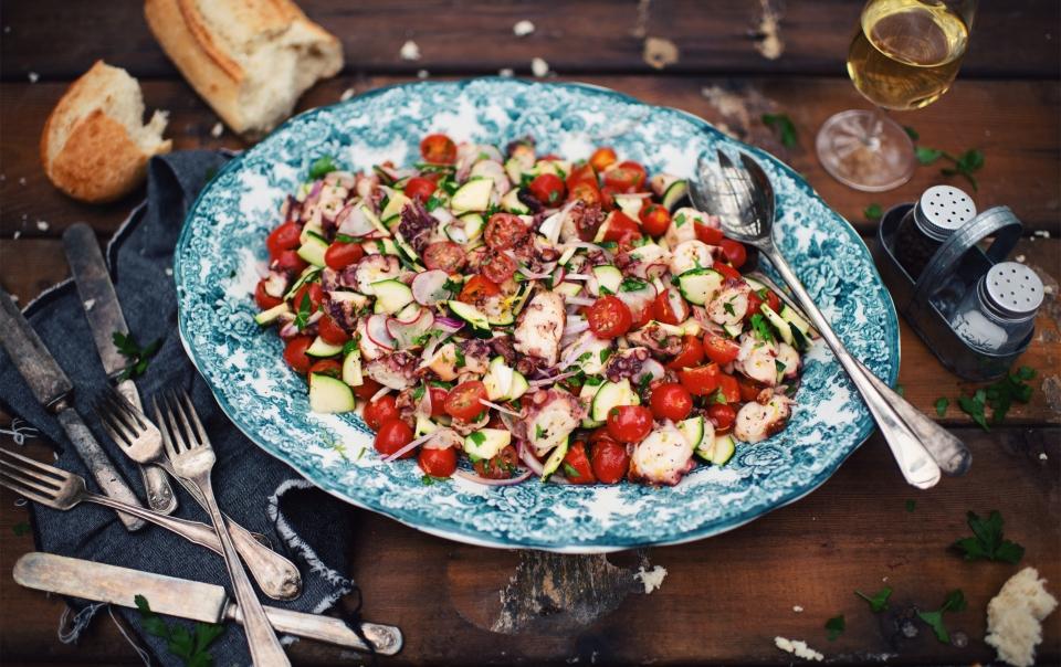 Grilled octopus salad with garden vegetables