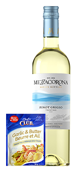 Mezzacorona Pinot Grigio & Chef's Club garlic butter sauce