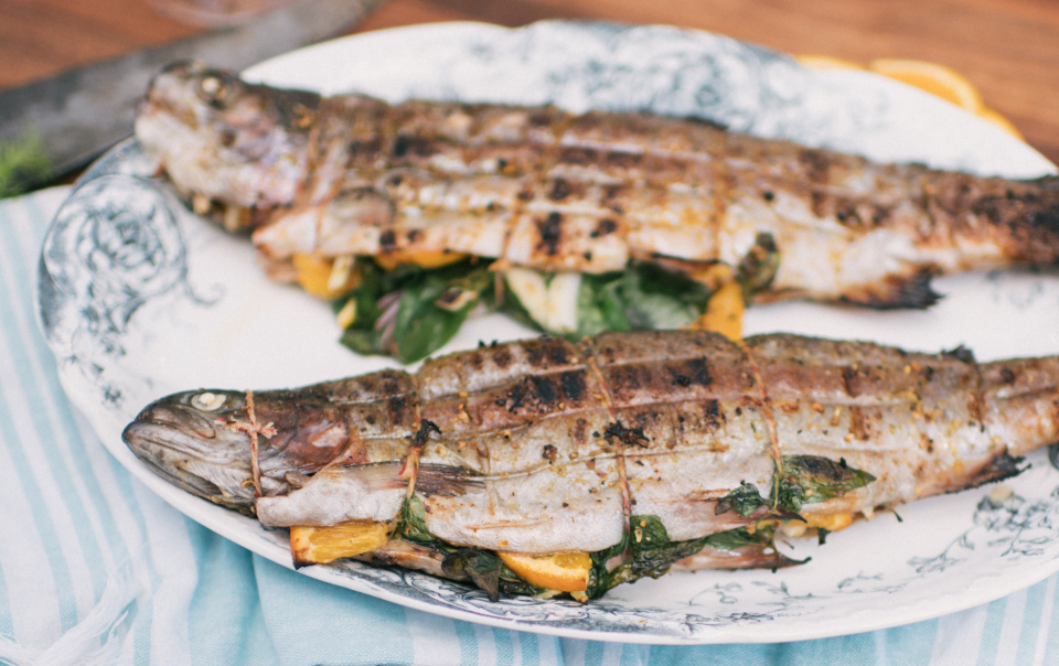 Grilled trout with fennel, orange and basil